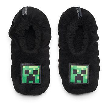 Boys 4-20 Minecraft Creeper Slippers