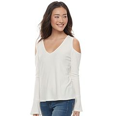 Juniors' SO® Cozy Cold-Shoulder Top