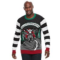 Big & Tall Biker Santa Ugly Christmas Sweater