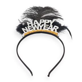 """Glittery """"Happy New Year"""" Feather Headband"""