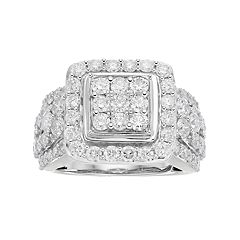 10k White Gold 3 ctT.W. Diamond Cluster Ring