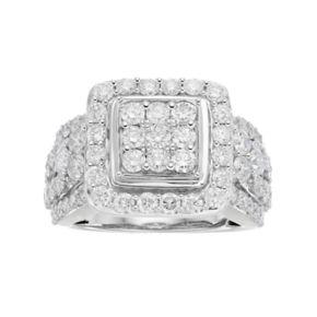 10k White Gold 3 ct. T.W. Diamond Cluster Ring