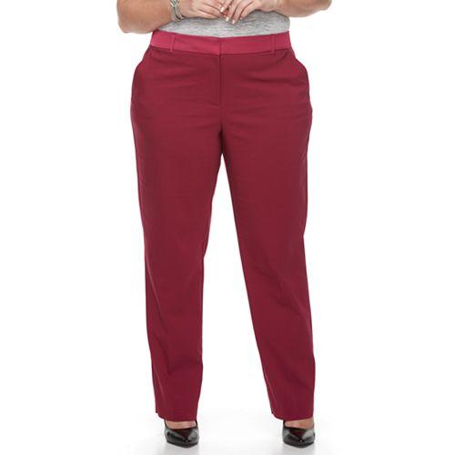 Plus Size Apt. 9® Torie Satin Waist Straight-Leg Pants