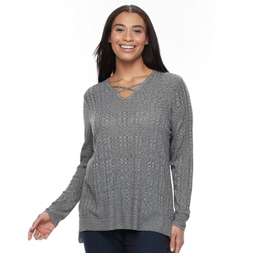 Plus Size Apt. 9® Crisscross Ribbed Sweater