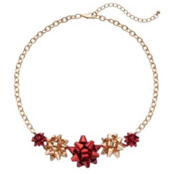 Two Tone Holiday Bow Necklace