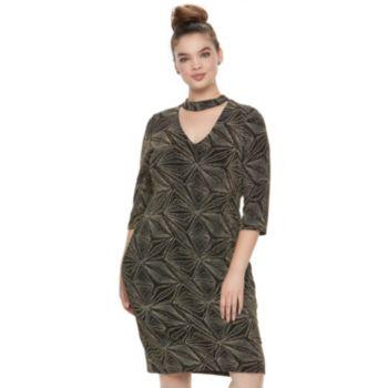 Juniors' Plus Size Wrapper Metallic Choker Dress