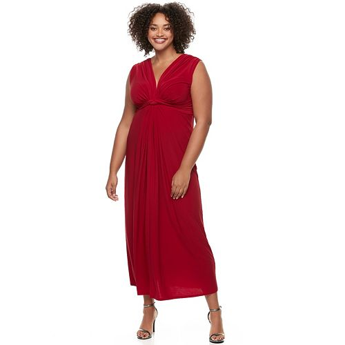 Juniors' Plus Size Wrapper Knot-Front Empire Dress