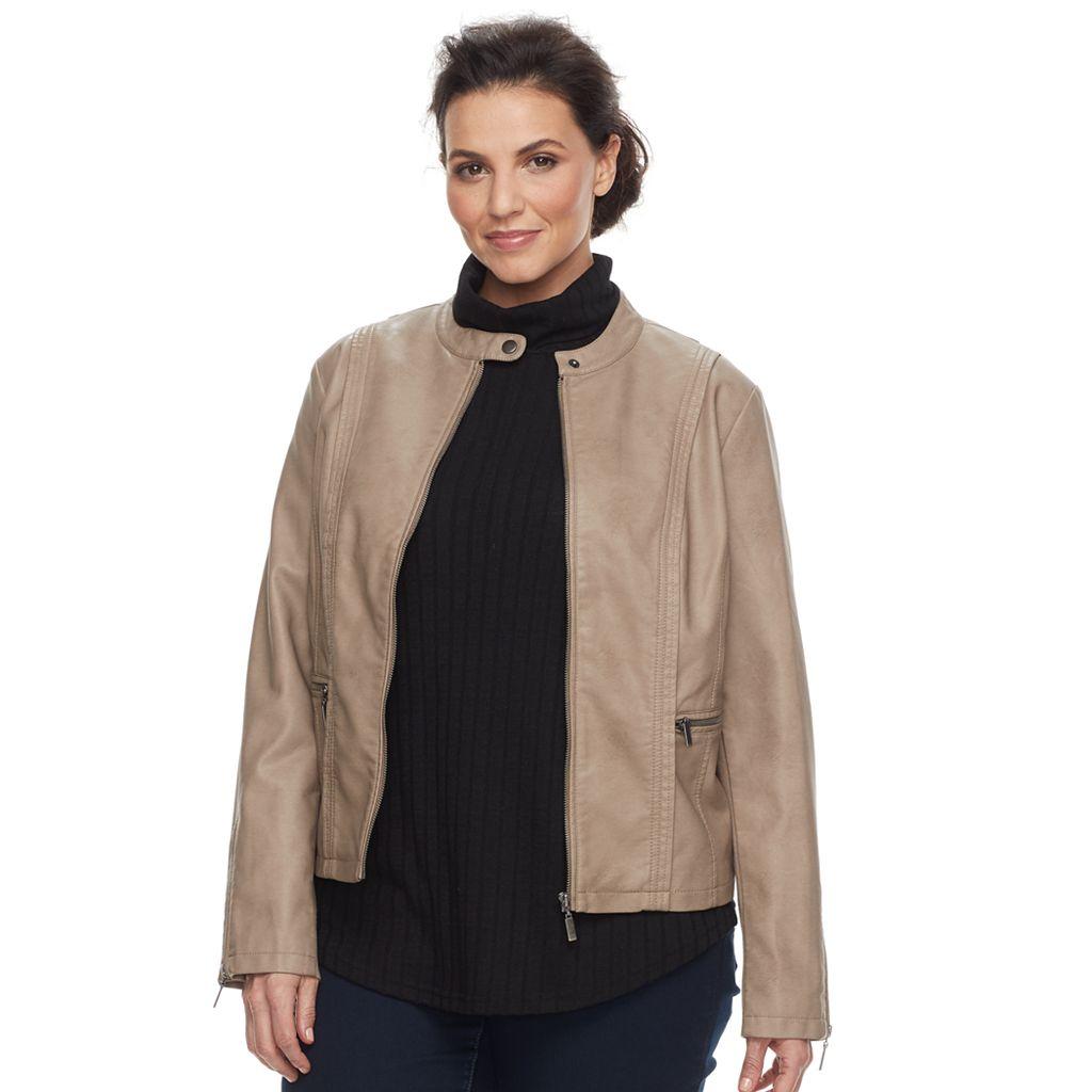 Plus Size MO-KA Faux-Leather Jacket