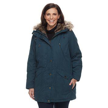 Plus Size MO-KA Hooded Faux-Fur Trim Anorak