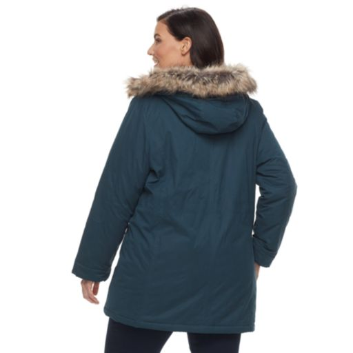 Plus Size MO-KA Hooded Faux-Fur Trim Anorak