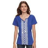Women's Caribbean Joe Embroidered Top