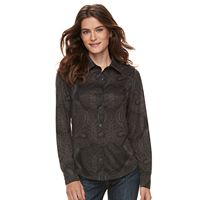 Women's Caribbean Joe Jacquard Button Front Shirt