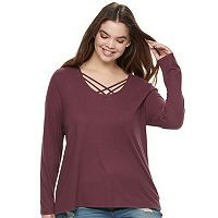 Juniors' Plus Size Mudd® Cozy Cross Front Tunic