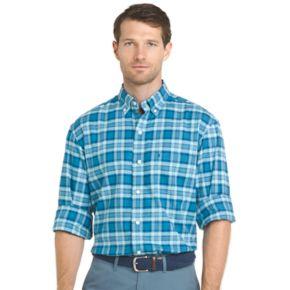 Big & Tall IZOD Regular-Fit Plaid Stretch Button-Down Shirt