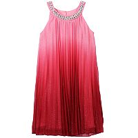 Girls 7-16 Speechless Jewelneck Glitter Ombre Pleated Dress