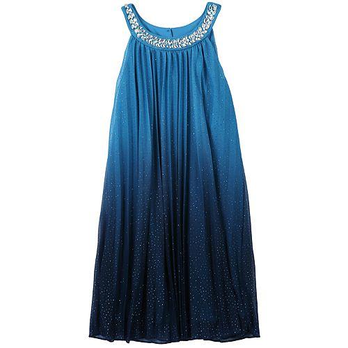Girls 7-16 Speechless Jewelneck Glitter Ombre Pleated Dress