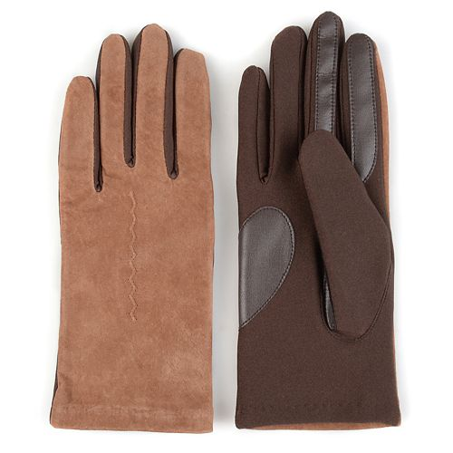 Women's Journee Collection Fleece-Lined Suede Tech Gloves