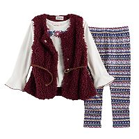 Toddler Girl Little Lass Sweater Vest, Floral Tee & Leggings Set