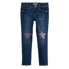 Girls 4-7 SONOMA Goods for Life™ Sequin Star Knee Patch Skinny Jeggings