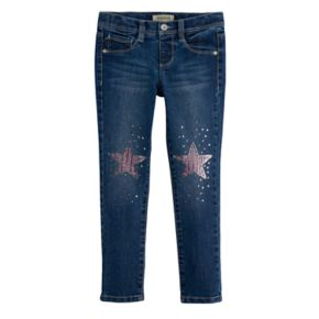 Girls 4-7 SONOMA Goods for Life? Sequin Star Knee Patch Skinny Jeggings