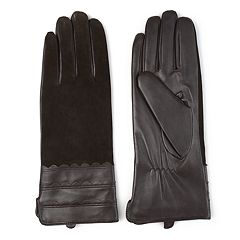Women's Journee Collection Microfiber-Lined Leather & Suede Gloves