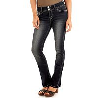 Juniors' Wallflower Curvy Faded Bootcut Jeans