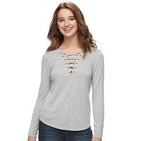 Juniors' Pink Republic Solid Lace-up Top
