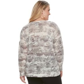 Plus Size Rock & Republic® Print Crewneck Sweater