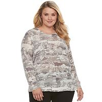 Plus Size Rock & Republic® Print Crewneck Sweater