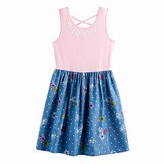 Girls 7-16 SO® Criss-Cross Back Mixed Media Dress