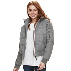 Juniors' Urban Republic Hooded Puffer Bomber Jacket