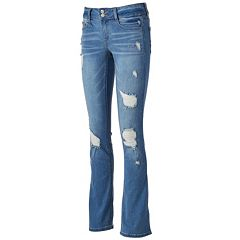 Juniors' Mudd® FLX Stretch Destructed Bootcut Jeans