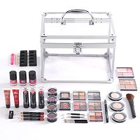 The Color Institute 40-Piece Train Case Color Delights Cosmetics Set