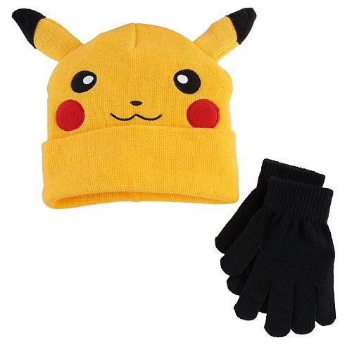Boys Pokemon Pikachu Hat   Gloves Set 533284fd717