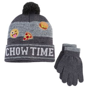 Boys 4-20 Emoji Hat & Gloves Set