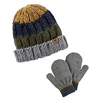 Baby Boy Carter's Colorblocked Cable Knit Beanie & Mittens Set
