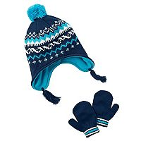 Baby Boy Carter's Fairisle Knit Trapper Hat & Mittens Set