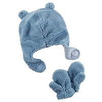 Baby Girl Carter's Plush Velboa Trapper Hat & Mittens Set