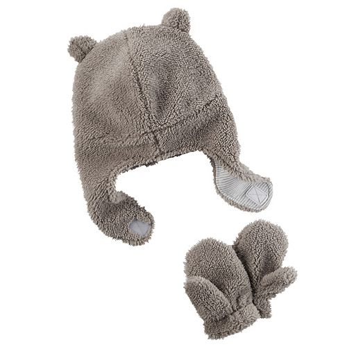 Baby Girl Carter's Plush Velboa Trapper Hat & Mittens Set