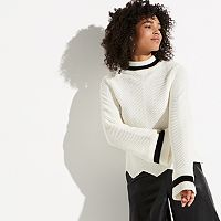 k/lab Mockneck Flare Sleeve Sweater