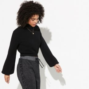k/lab Cropped Balloon Sleeve Sweater