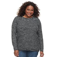 Plus Size Croft & Barrow® Cable-Knit Boatneck Sweater