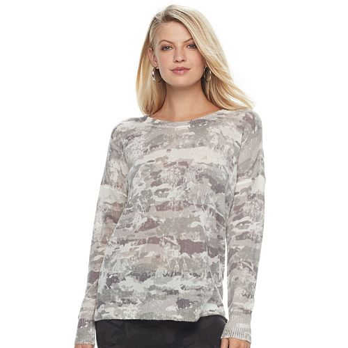 Women's Rock & Republic® Textured Camo Crewneck Sweater