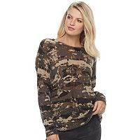 Women's Rock & Republic® Textured Camo Crewneck Sweater