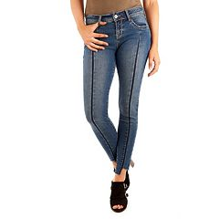 Juniors' Wallflower Legendary Step Hem Seamed Ankle Jeans