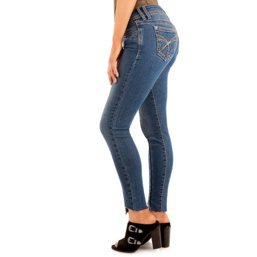 Juniors' Wallflower Legendary Step Hem Seamed Ankle Jeans