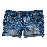 Girls 7-16 & Plus Size Mudd® Tie-Dye Mixed Print Shortie Jean Shorts
