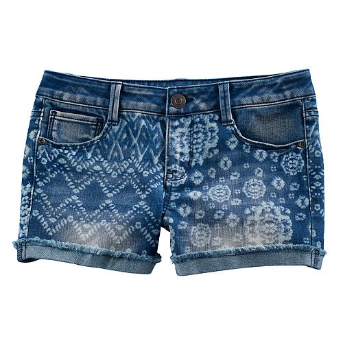 Girls 7-16 & Plus Size Mudd® Tie-Dye Mixed Print Shortie Jean Shorts