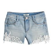 Girls 7-16 & Plus Size Mudd® Lace Hem Shortie Jean Shorts