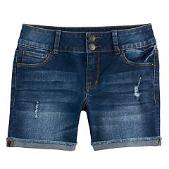 Girls 7-16 & Plus Size Mudd® Denim Midi Shorts